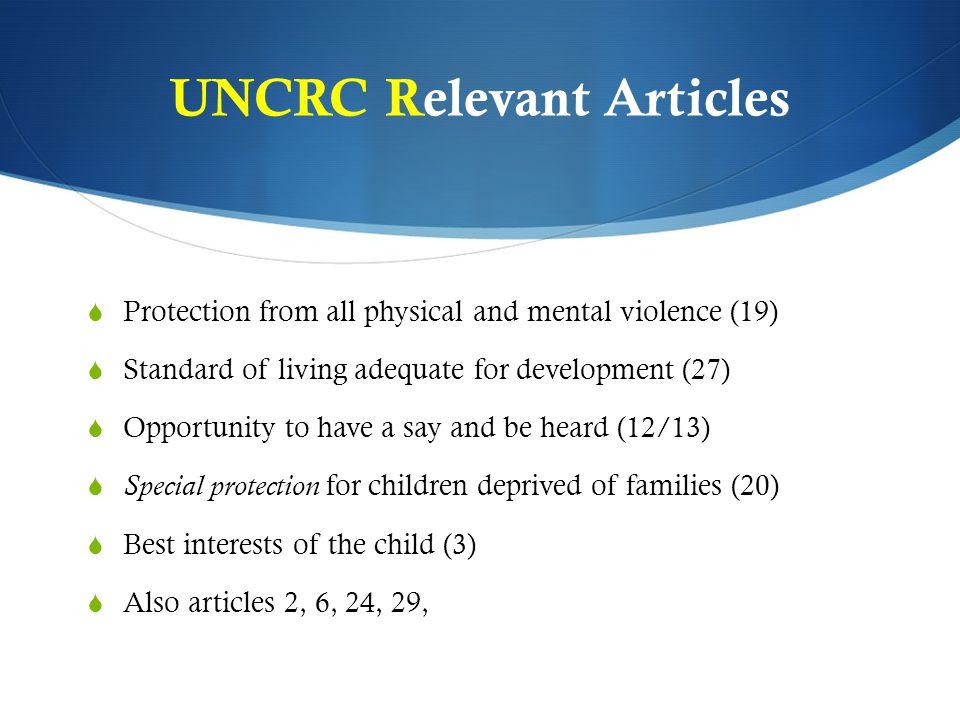 UNCRC Relevant Articles