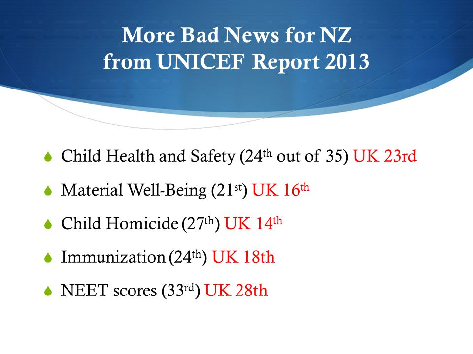 More Bad News for NZ from UNICEF Report 2013