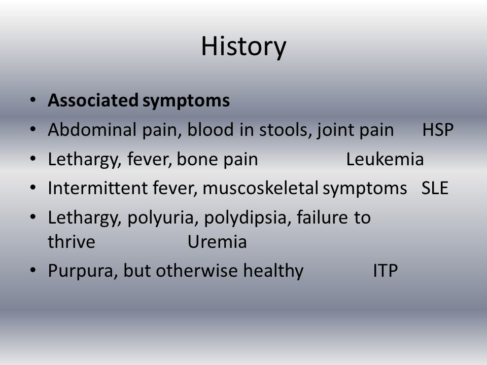 History Associated symptoms
