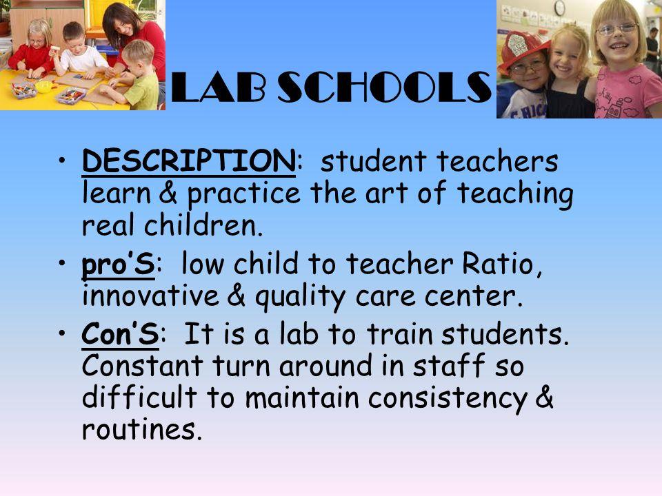 LAB SCHOOLS DESCRIPTION: student teachers learn & practice the art of teaching real children.