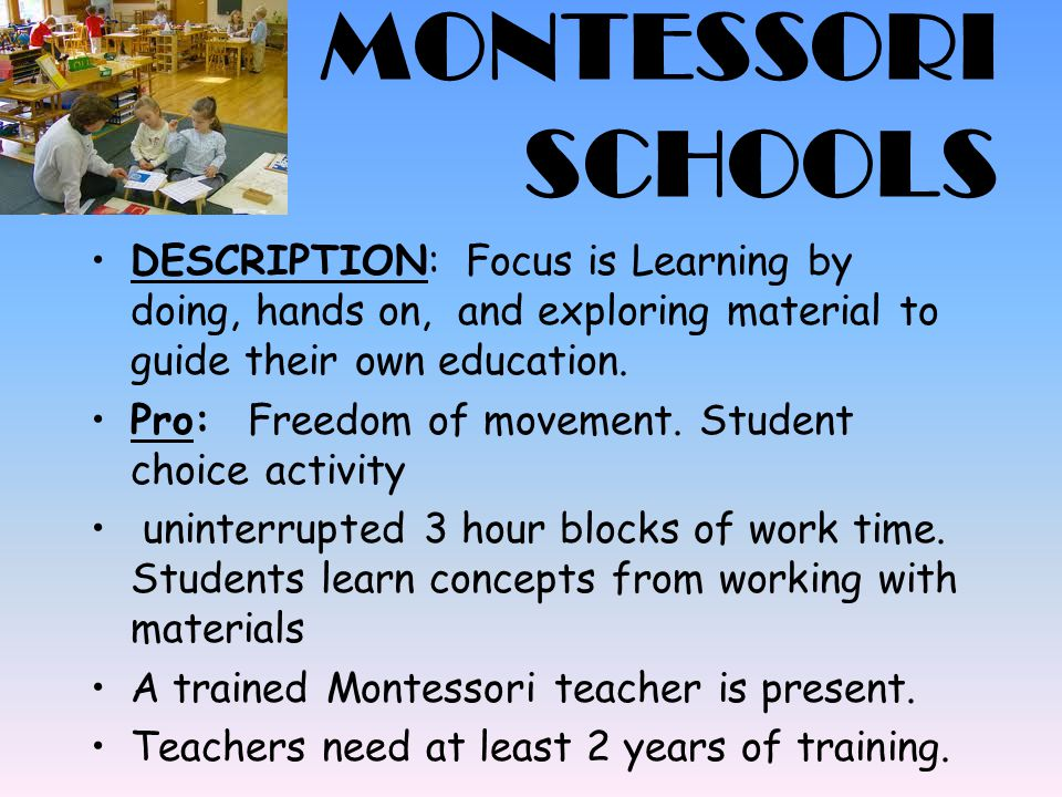 MONTESSORI SCHOOLS DESCRIPTION: Focus is Learning by doing, hands on, and exploring material to guide their own education.