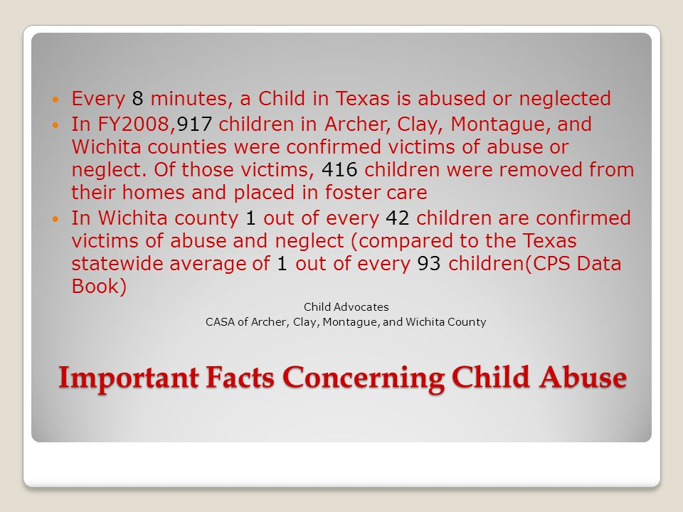 Important Facts Concerning Child Abuse