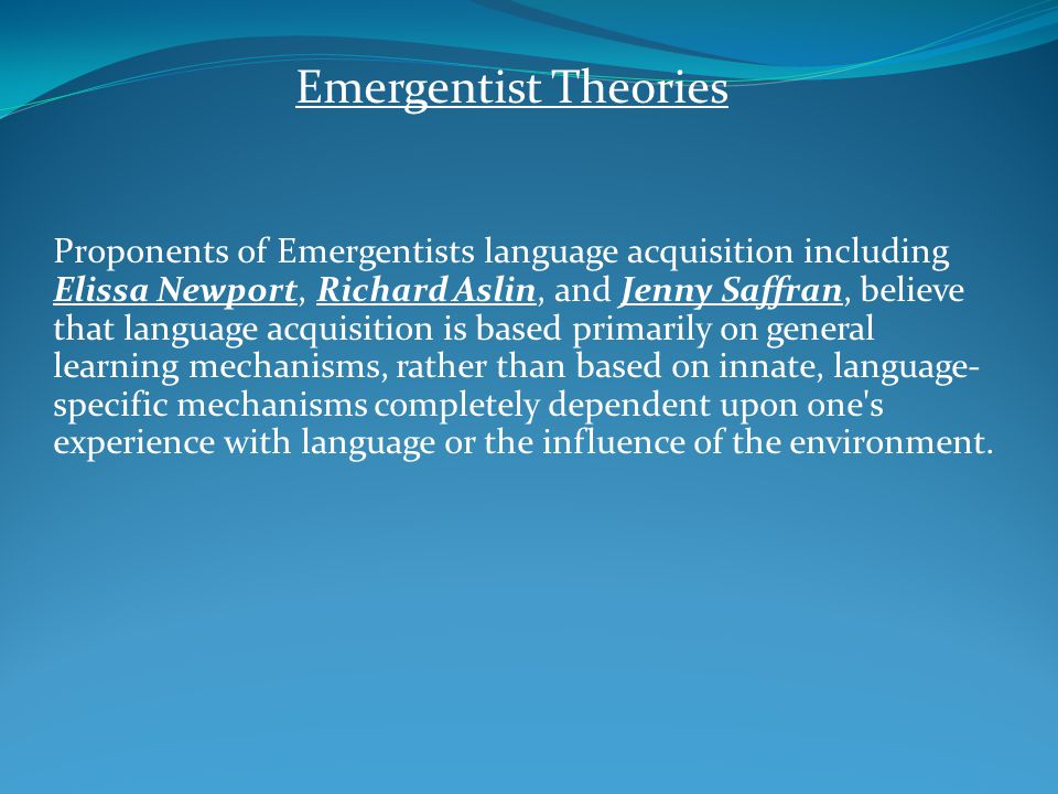 Emergentist Theories