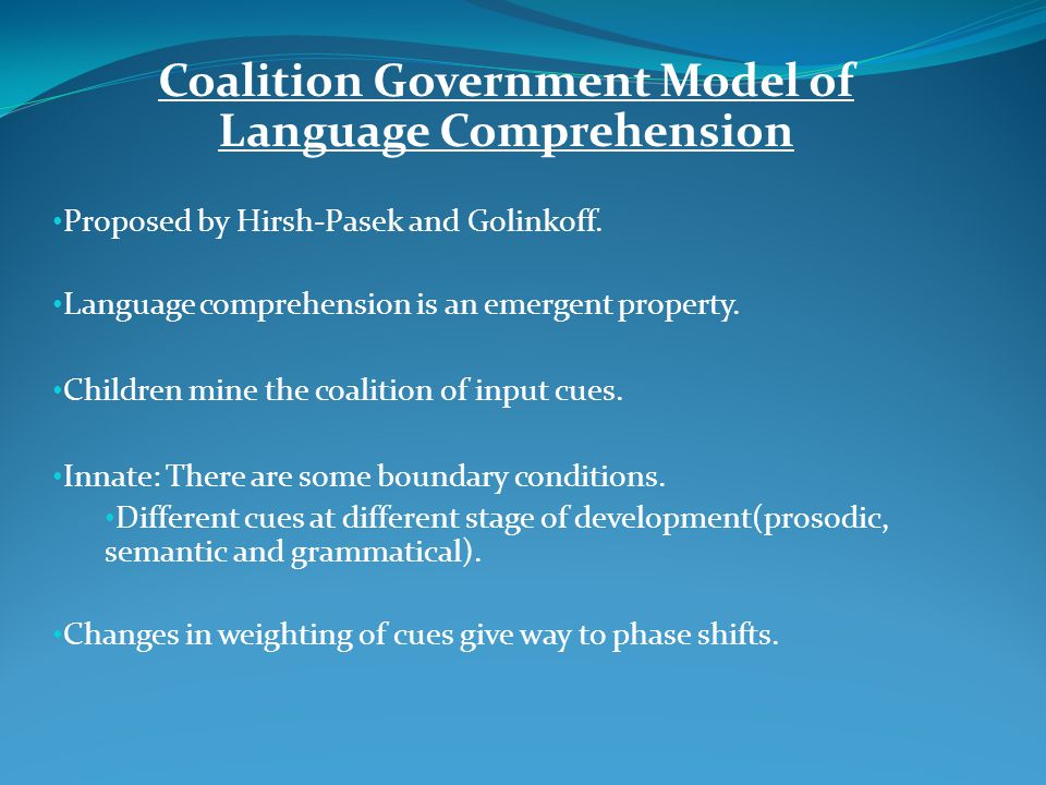 Coalition Government Model of Language Comprehension