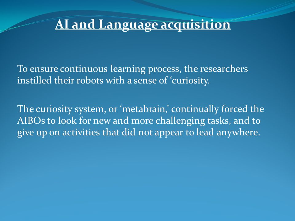 AI and Language acquisition
