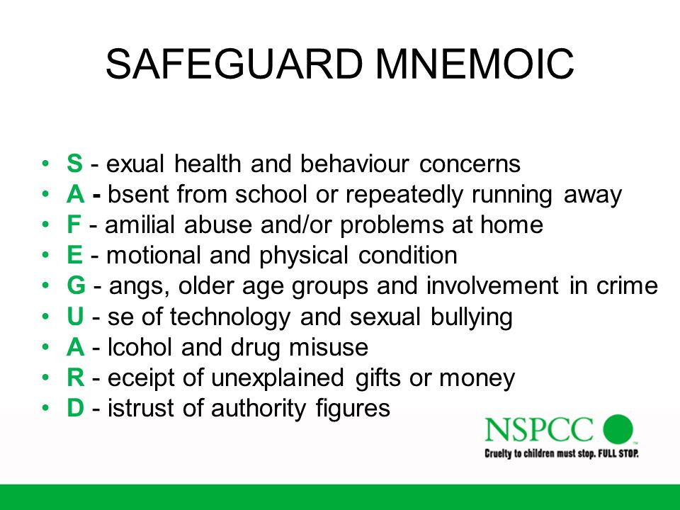 SAFEGUARD MNEMOIC S - exual health and behaviour concerns
