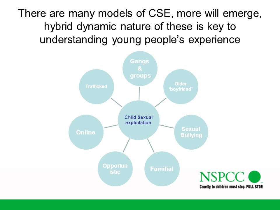 There are many models of CSE, more will emerge, hybrid dynamic nature of these is key to understanding young people's experience