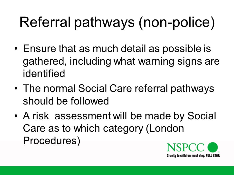 Referral pathways (non-police)