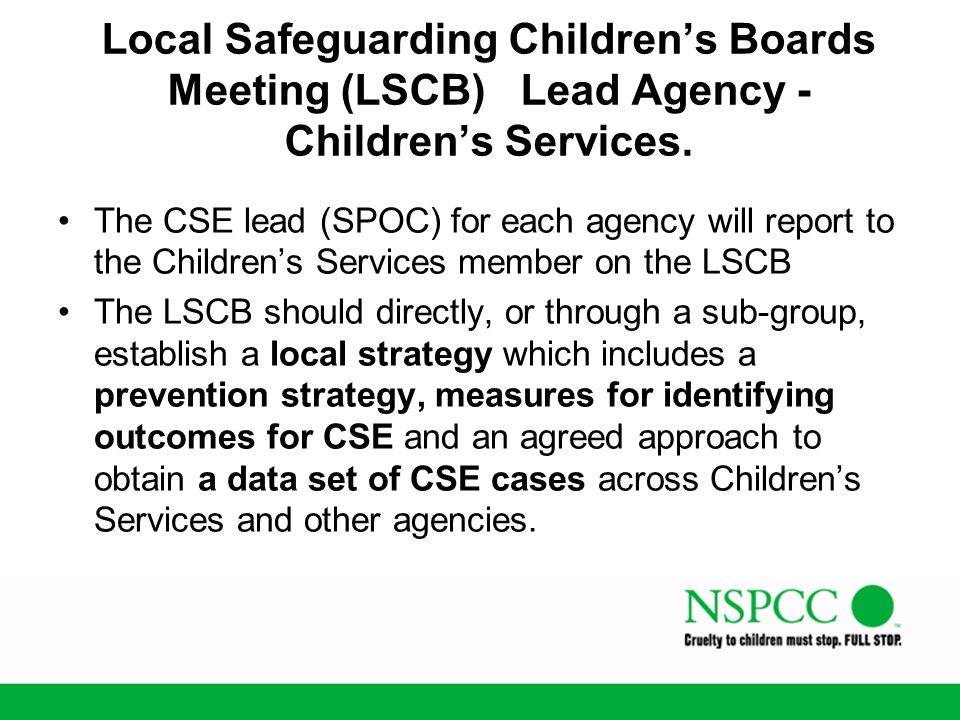 Local Safeguarding Children's Boards Meeting (LSCB) Lead Agency - Children's Services.