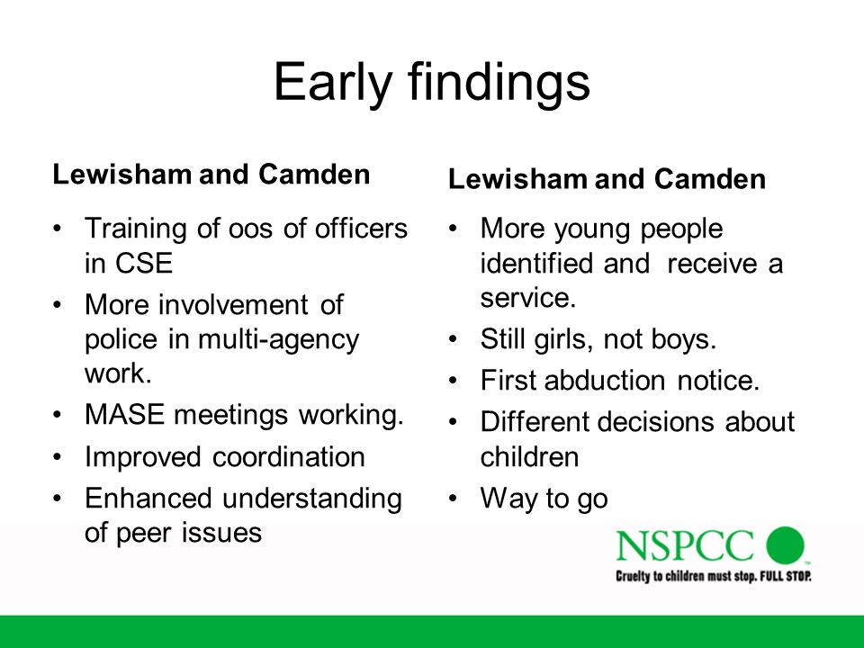Early findings Lewisham and Camden Lewisham and Camden