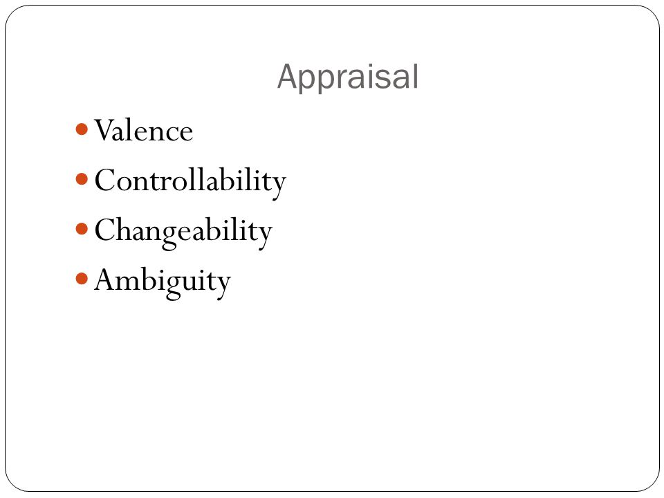 Appraisal Valence Controllability Changeability Ambiguity