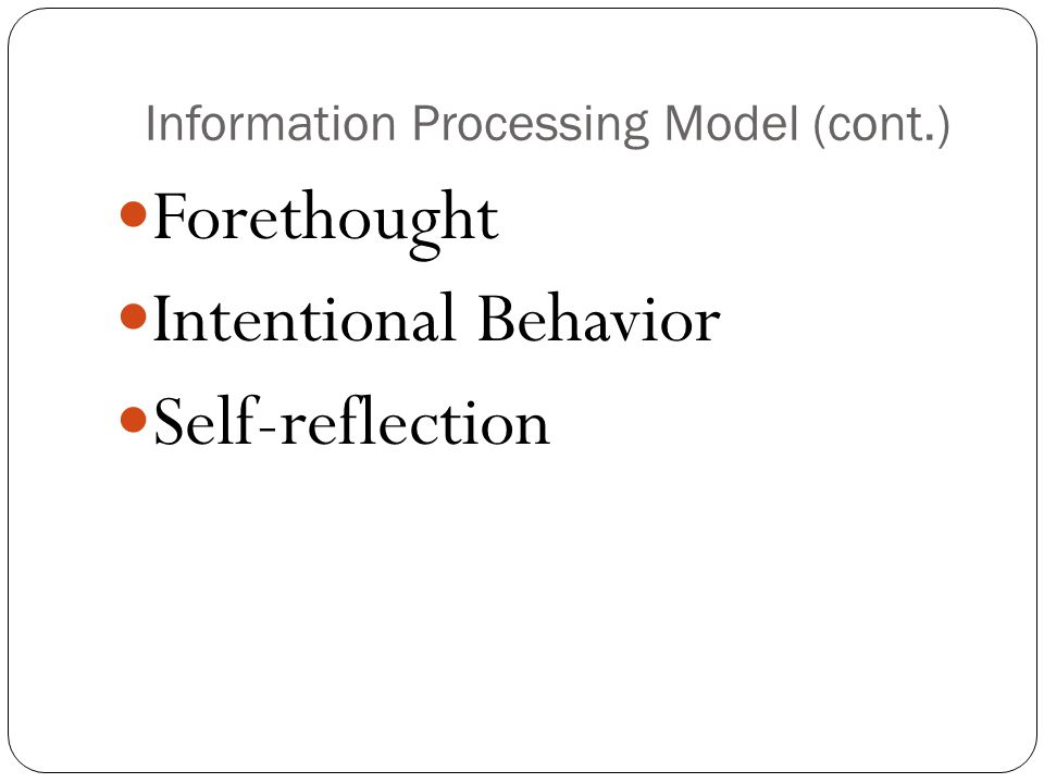 Information Processing Model (cont.)