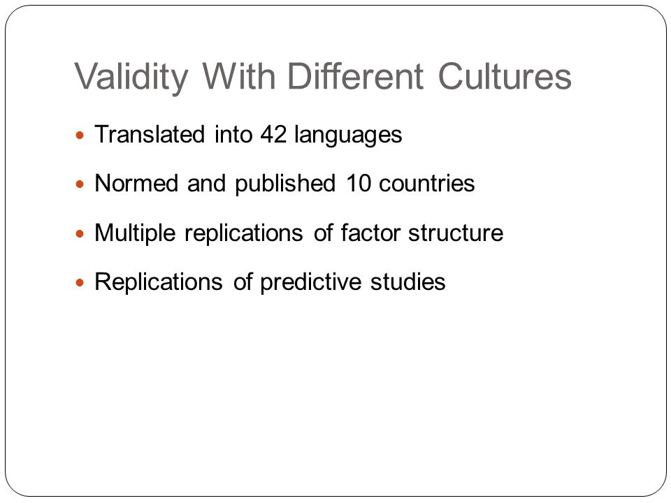 Validity With Different Cultures