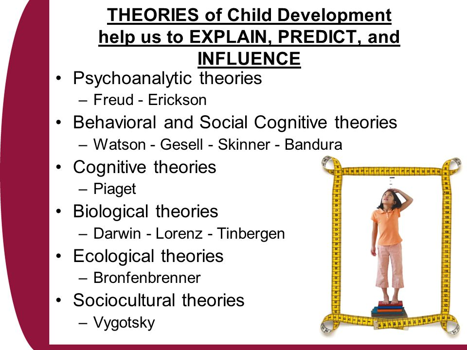 theories of child development Erik erikson's theory of psychosocial development describes 8 stages that play a role in the development of personality and psychological skills.