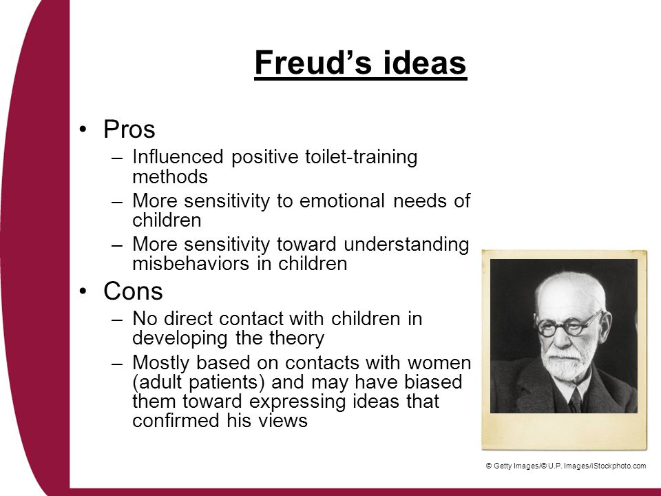Freud's ideas Pros Cons Influenced positive toilet-training methods