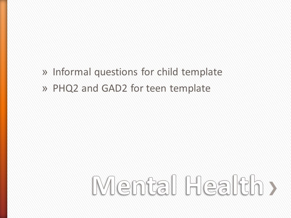 Mental Health Informal questions for child template