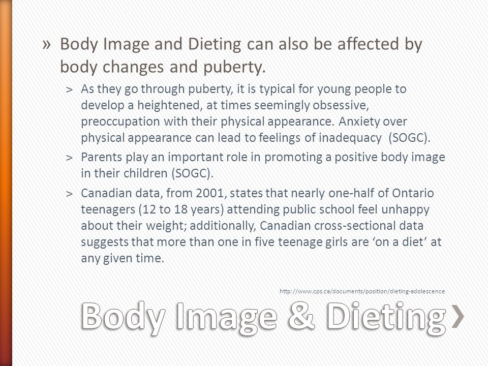 Body Image and Dieting can also be affected by body changes and puberty.