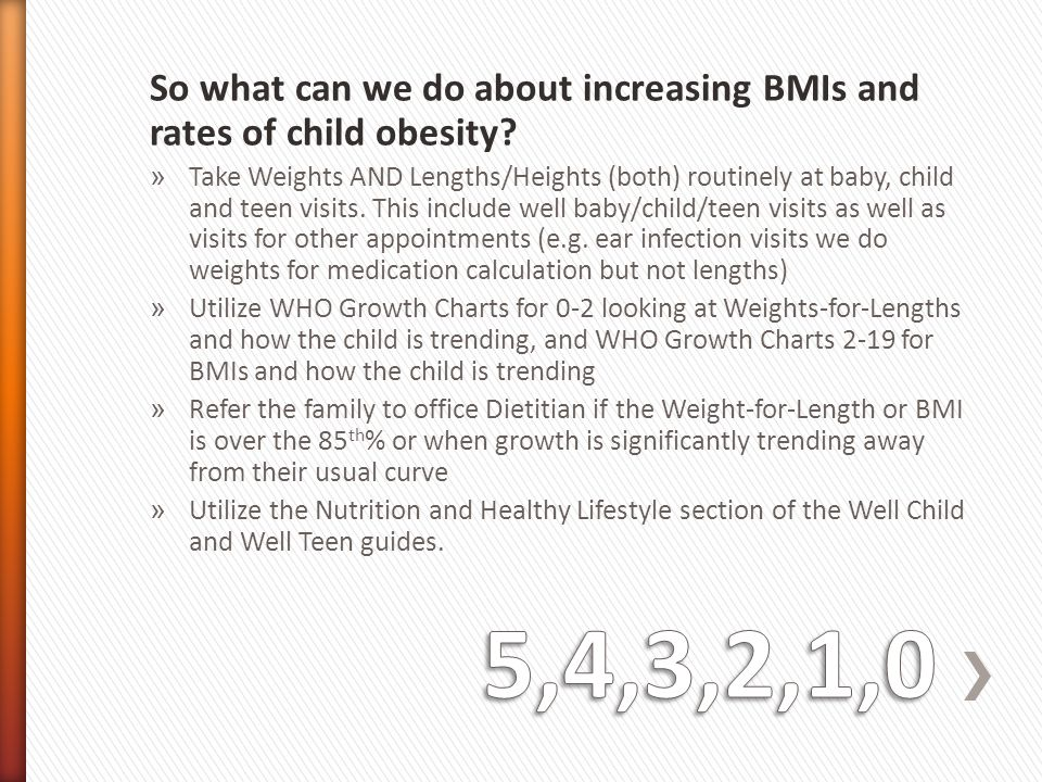So what can we do about increasing BMIs and rates of child obesity
