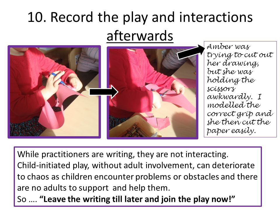 10. Record the play and interactions afterwards