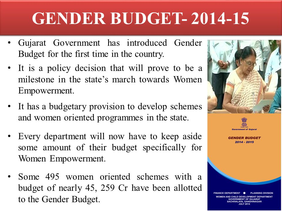 GENDER BUDGET- 2014-15 Gujarat Government has introduced Gender Budget for the first time in the country.