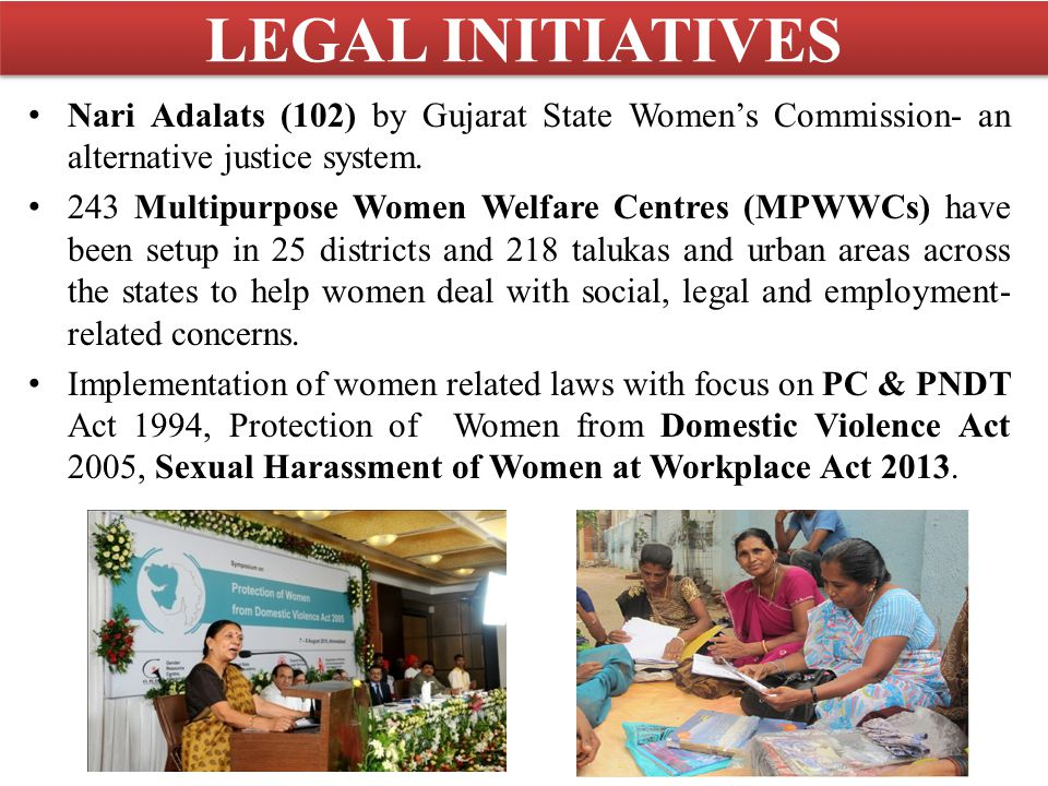 LEGAL INITIATIVES Nari Adalats (102) by Gujarat State Women's Commission- an alternative justice system.