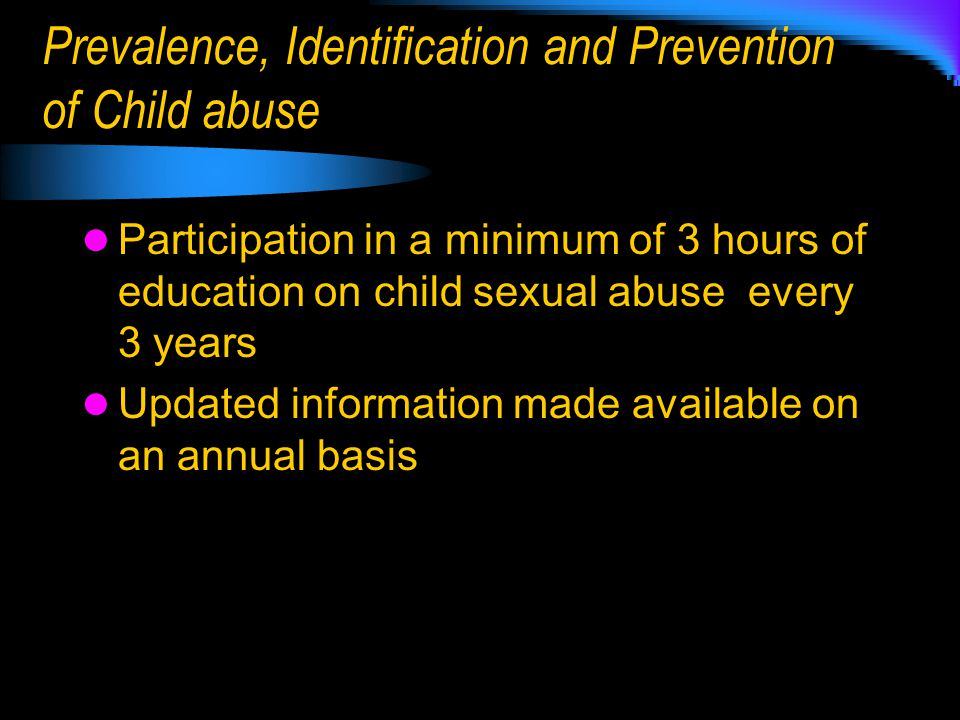 Prevalence, Identification and Prevention of Child abuse