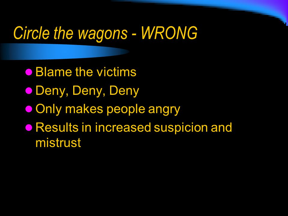 Circle the wagons - WRONG