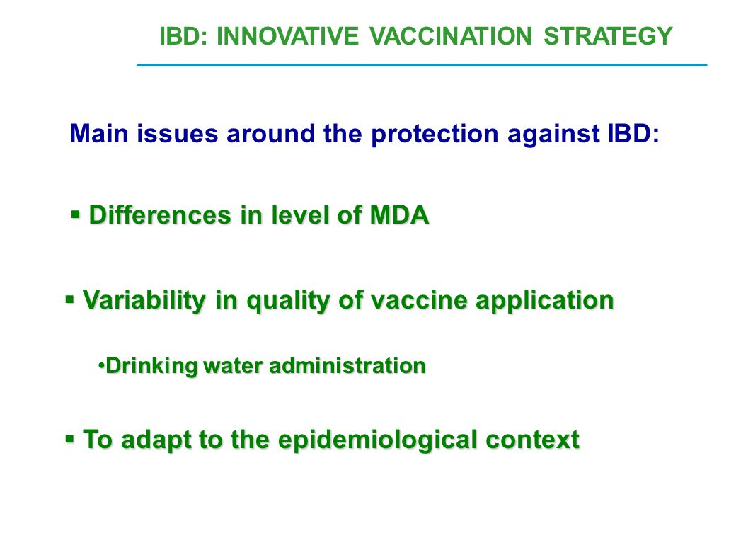 Main issues around the protection against IBD: