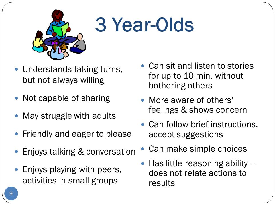 3 Year-Olds Can sit and listen to stories for up to 10 min. without bothering others. More aware of others' feelings & shows concern.
