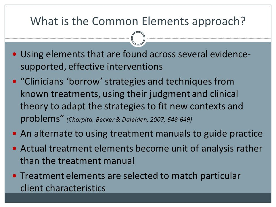 What is the Common Elements approach