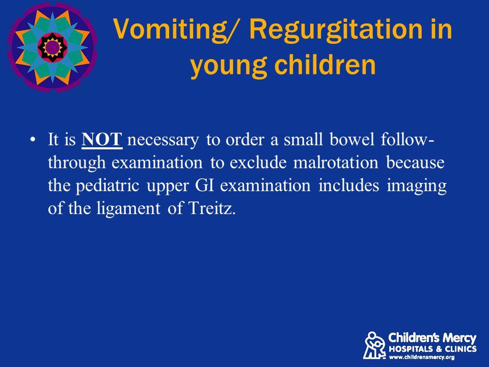 Vomiting/ Regurgitation in young children