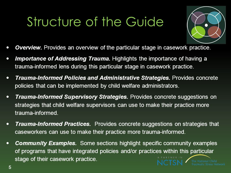 Structure of the Guide Overview. Provides an overview of the particular stage in casework practice.