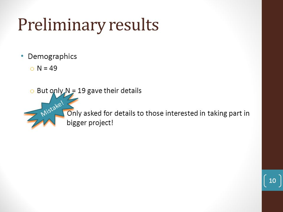 Preliminary results Demographics N = 49