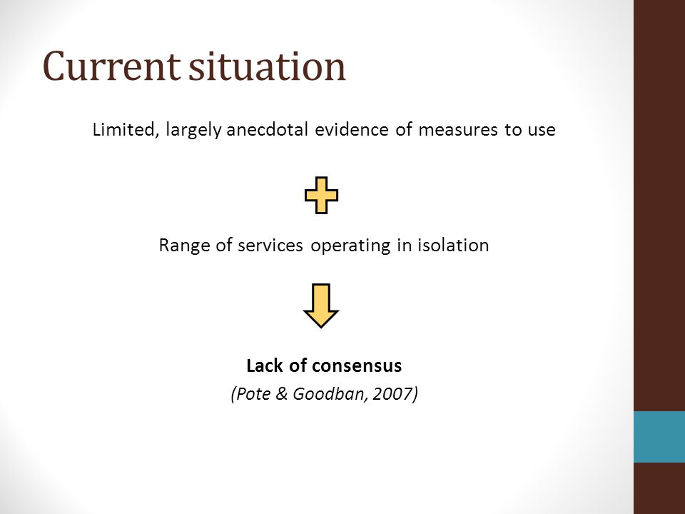 Current situation Limited, largely anecdotal evidence of measures to use. Range of services operating in isolation.