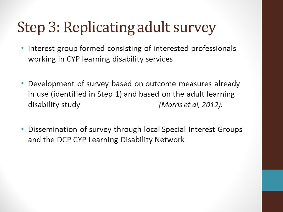 Step 3: Replicating adult survey