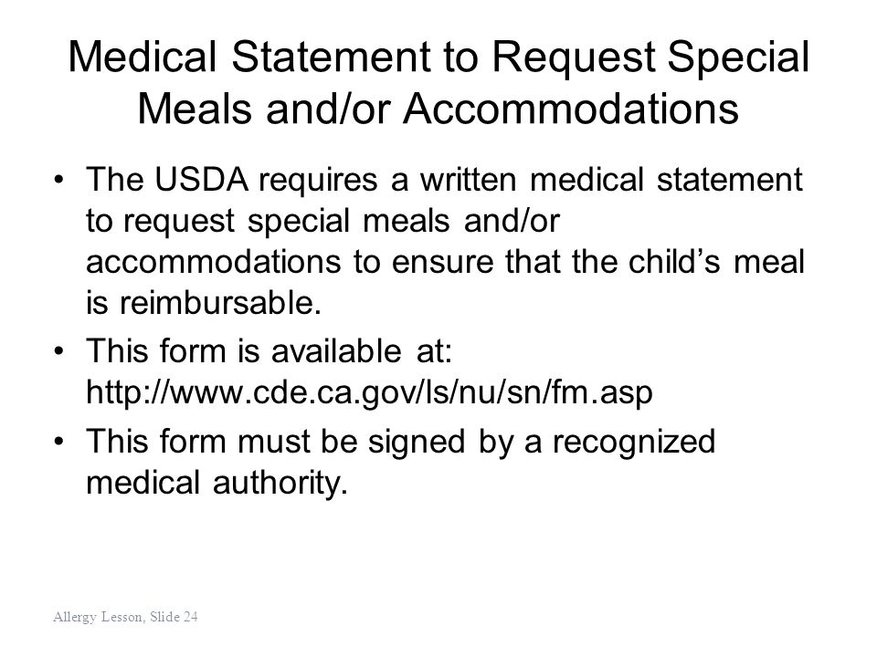 Medical Statement to Request Special Meals and/or Accommodations