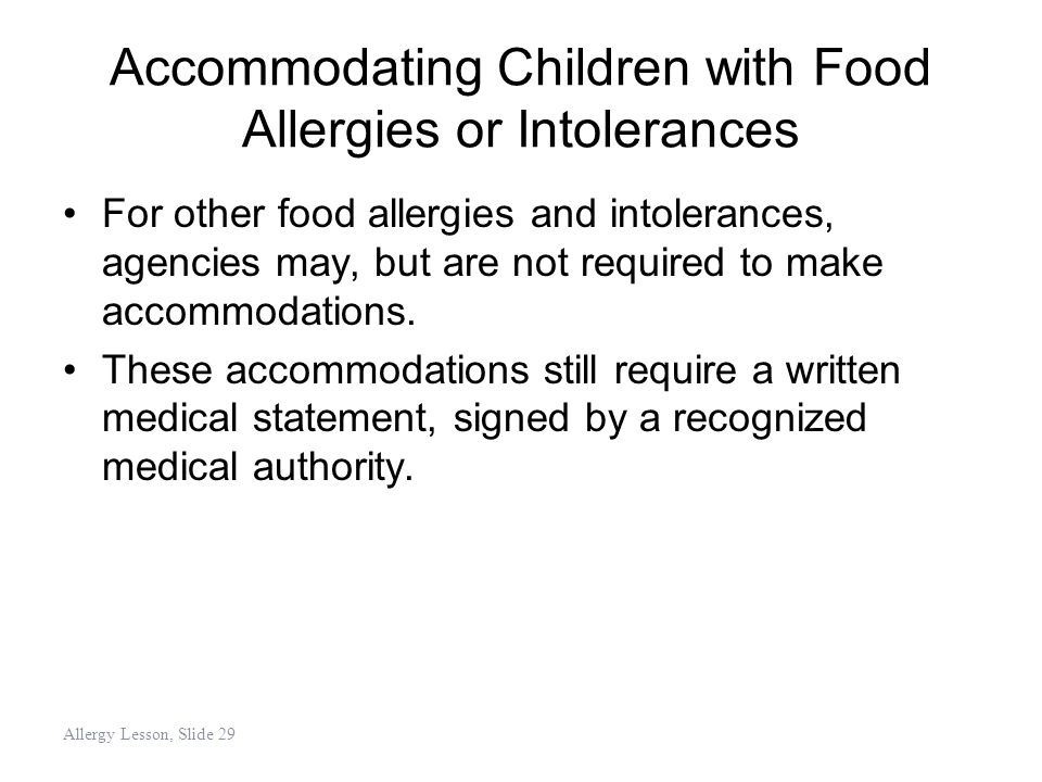 Accommodating Children with Food Allergies or Intolerances