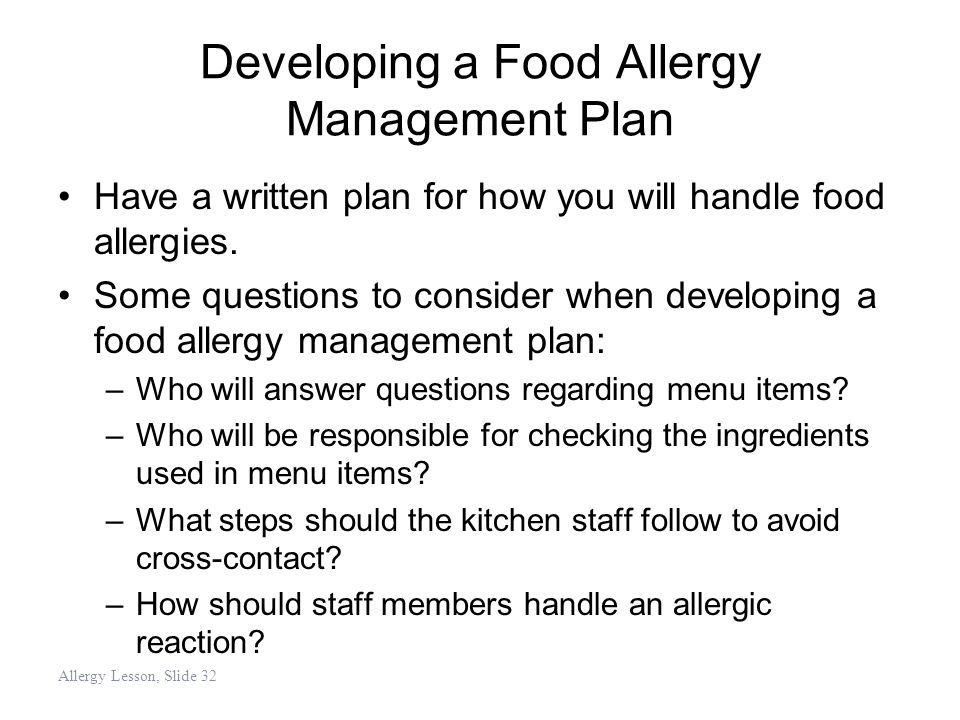 Developing a Food Allergy Management Plan