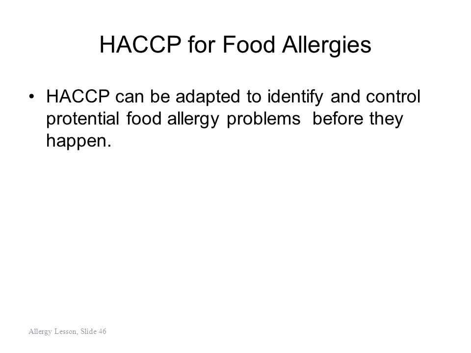 HACCP for Food Allergies