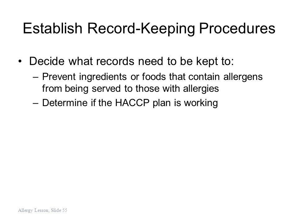 Establish Record-Keeping Procedures