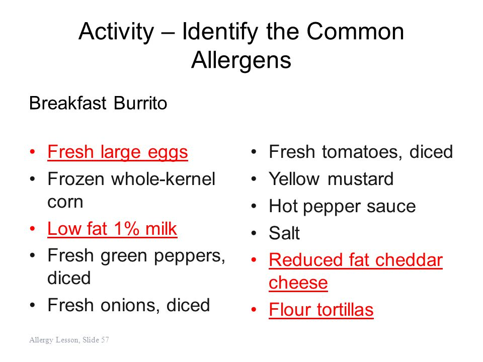 Activity – Identify the Common Allergens