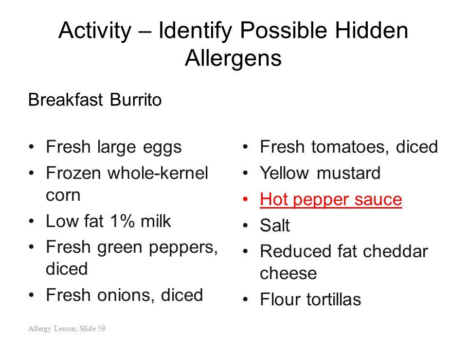 Activity – Identify Possible Hidden Allergens