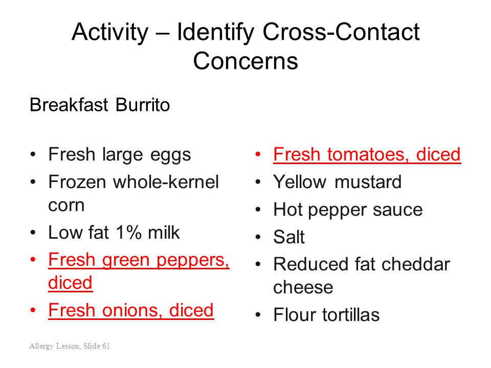 Activity – Identify Cross-Contact Concerns