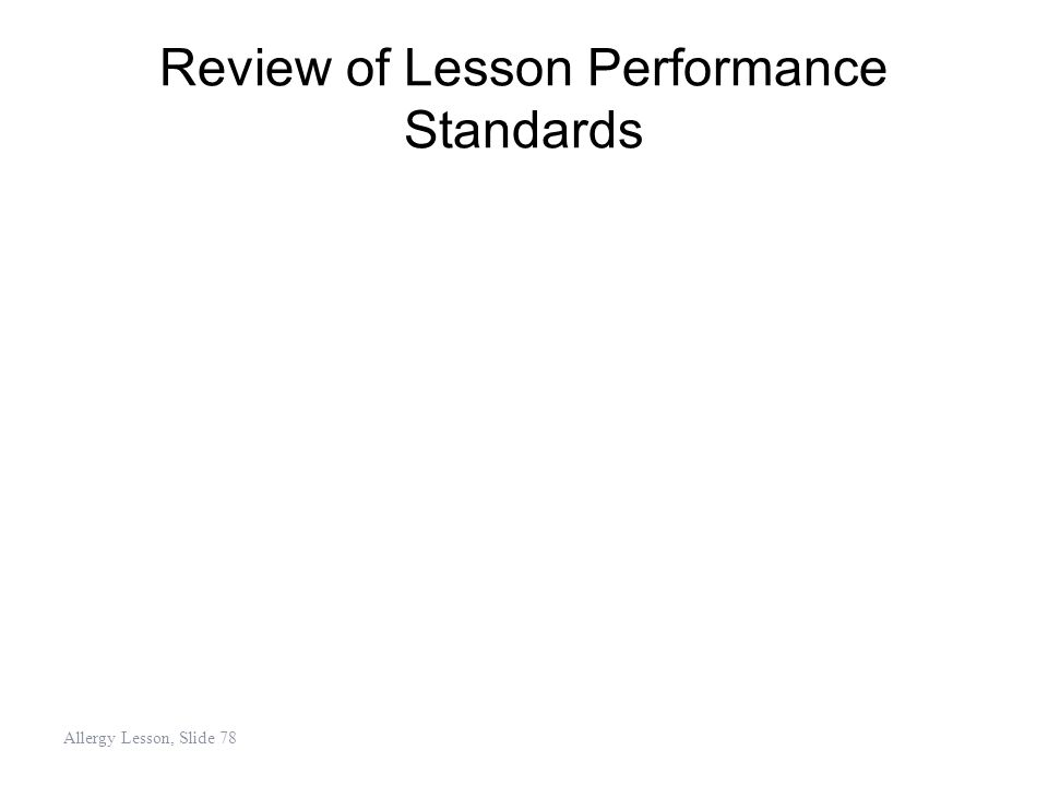 Review of Lesson Performance Standards