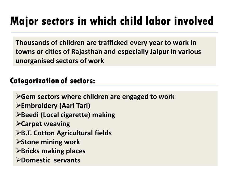 Major sectors in which child labor involved