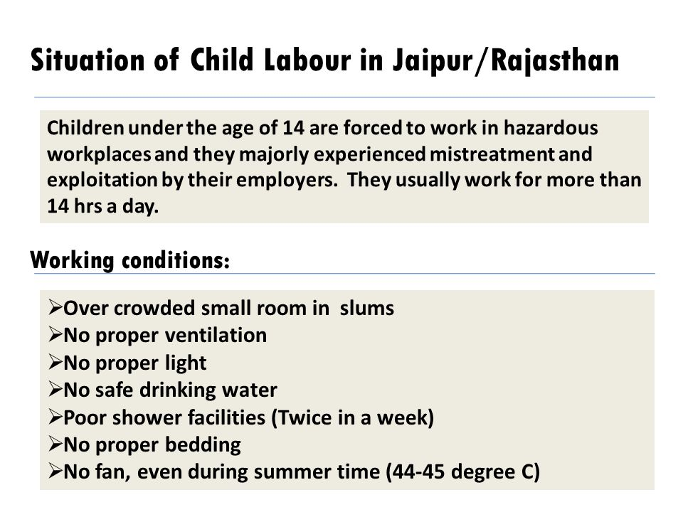 Situation of Child Labour in Jaipur/Rajasthan