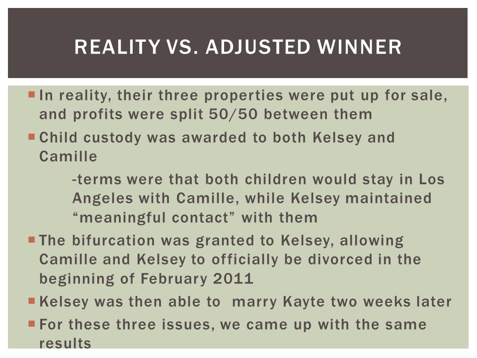Reality vs. ADJUSTED WINNER