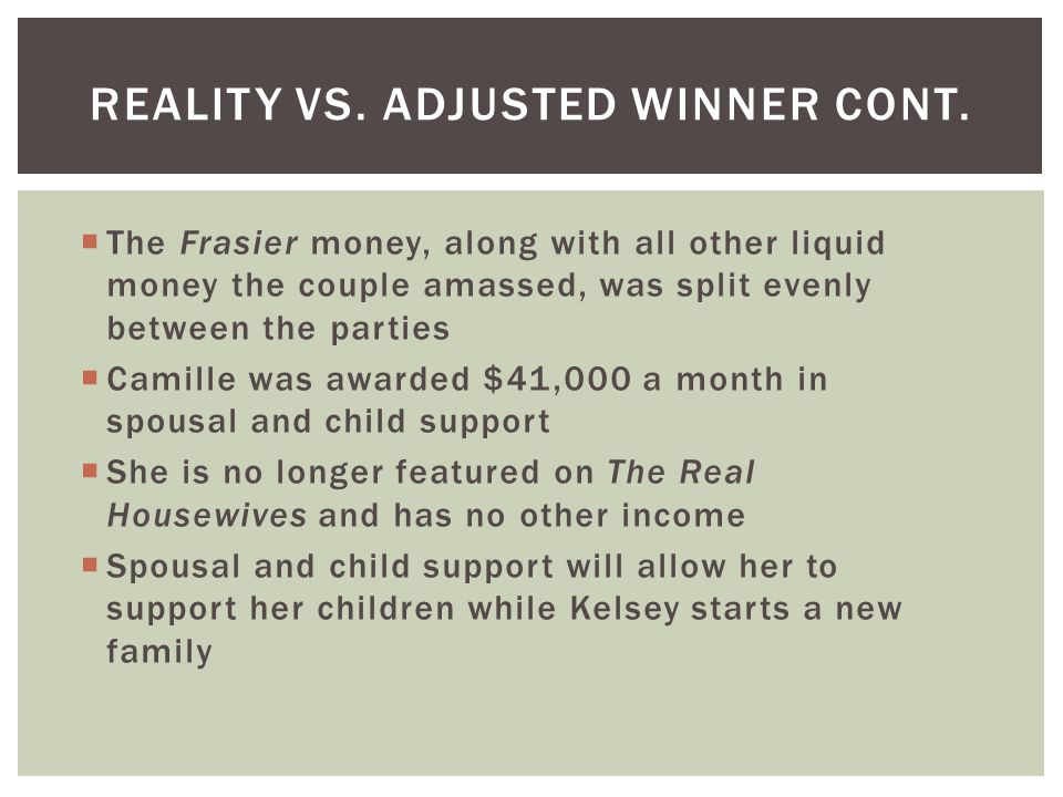 Reality vs. ADJUSTED WINNER cont.