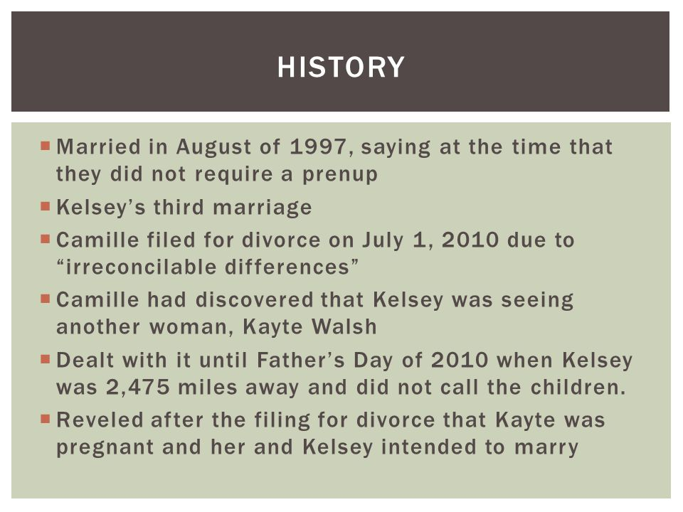 HISTORY Married in August of 1997, saying at the time that they did not require a prenup. Kelsey's third marriage.