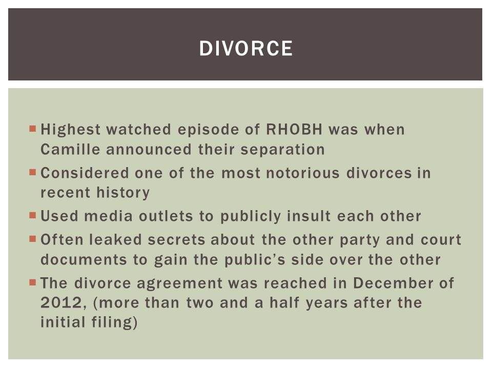 DIVORCE Highest watched episode of RHOBH was when Camille announced their separation.